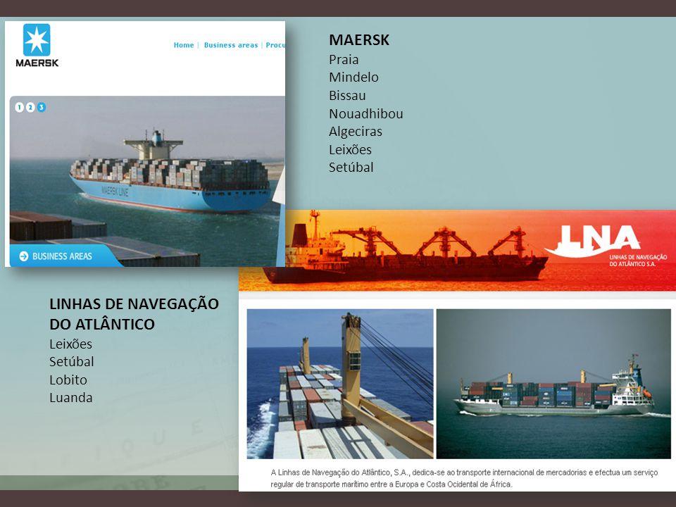 MAERSK Praia Mindelo Bissau Nouadhibou Algeciras Leixões Setúbal LINHAS DE NAVEGAÇÃO DO ATLÂNTICO Leixões Setúbal Lobito Luanda