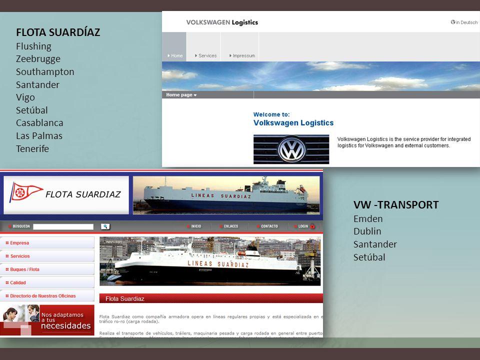 VW -TRANSPORT Emden Dublin Santander Setúbal FLOTA SUARDÍAZ Flushing Zeebrugge Southampton Santander Vigo Setúbal Casablanca Las Palmas Tenerife