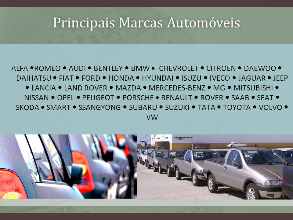 Principais Marcas AutomóveisPrincipais Marcas Automóveis ALFA ROMEO AUDI BENTLEY BMW CHEVROLET CITROEN DAEWOO DAIHATSU FIAT FORD HONDA HYUNDAI ISUZU I