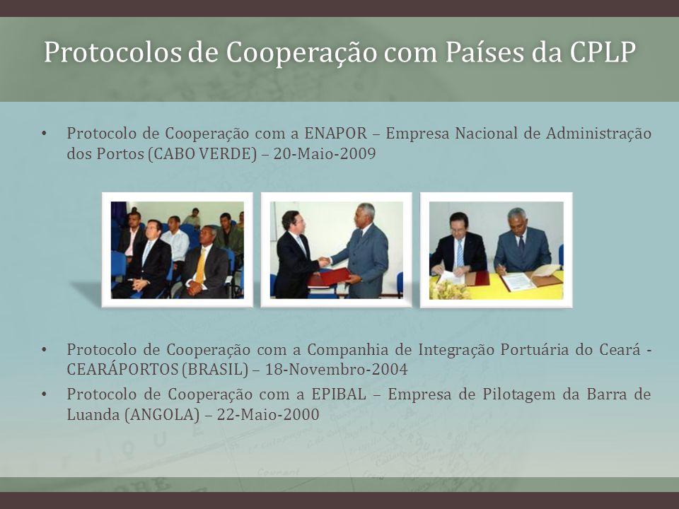 Protocolos de Cooperação com Países da CPLPProtocolos de Cooperação com Países da CPLP Protocolo de Cooperação com a ENAPOR – Empresa Nacional de Administração dos Portos (CABO VERDE) – 20-Maio-2009 Protocolo de Cooperação com a Companhia de Integração Portuária do Ceará - CEARÁPORTOS (BRASIL) – 18-Novembro-2004 Protocolo de Cooperação com a EPIBAL – Empresa de Pilotagem da Barra de Luanda (ANGOLA) – 22-Maio-2000