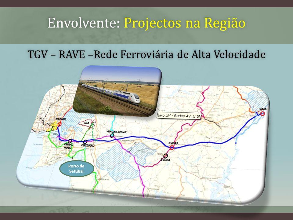 TGV – RAVE –Rede Ferroviária de Alta VelocidadeTGV – RAVE –Rede Ferroviária de Alta Velocidade Porto de Setúbal Envolvente: Projectos na RegiãoEnvolvente: Projectos na Região