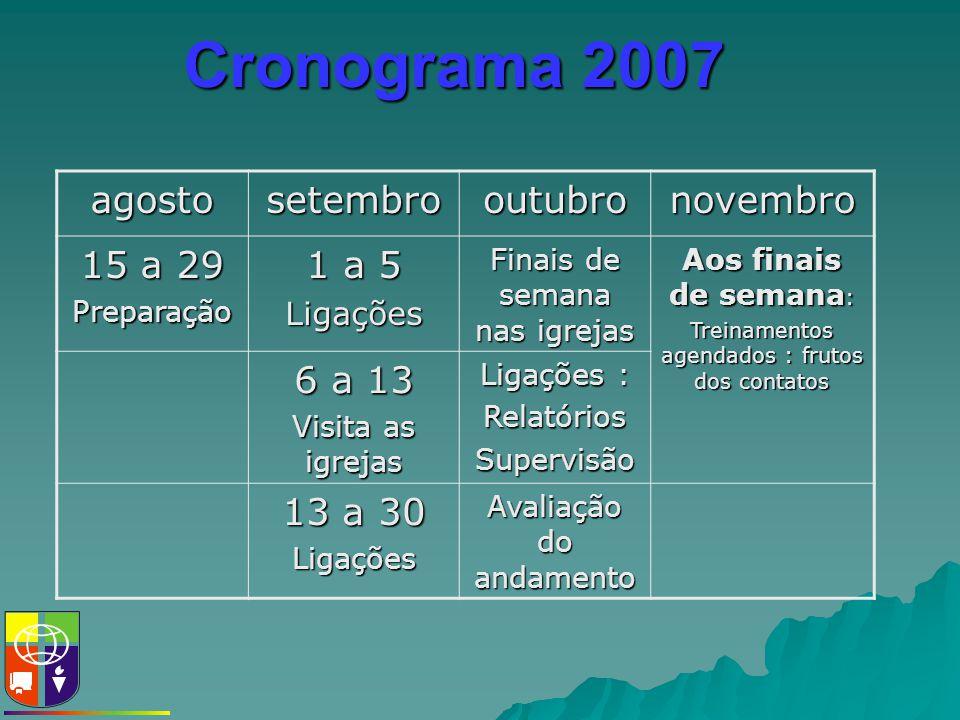 Cronograma 2007 agostosetembrooutubronovembro 15 a 29 Preparação 1 a 5 Ligações Finais de semana nas igrejas Aos finais de semana : Treinamentos agend