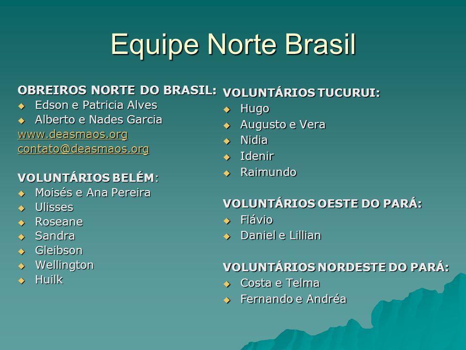 Equipe Norte Brasil VOLUNTÁRIOS TUCURUI:  Hugo  Augusto e Vera  Nidia  Idenir  Raimundo VOLUNTÁRIOS OESTE DO PARÁ:  Flávio  Daniel e Lillian VO
