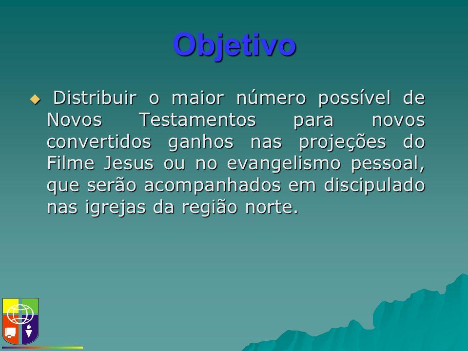 Objetivo  Distribuir o maior número possível de Novos Testamentos para novos convertidos ganhos nas projeções do Filme Jesus ou no evangelismo pessoa