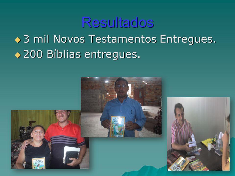 Resultados  3 mil Novos Testamentos Entregues.  200 Bíblias entregues.