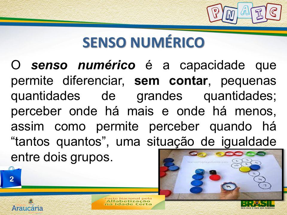 SENSO NUMÉRICO O senso numérico é a capacidade que permite diferenciar, sem contar, pequenas quantidades de grandes quantidades; perceber onde há mais e onde há menos, assim como permite perceber quando há tantos quantos , uma situação de igualdade entre dois grupos.