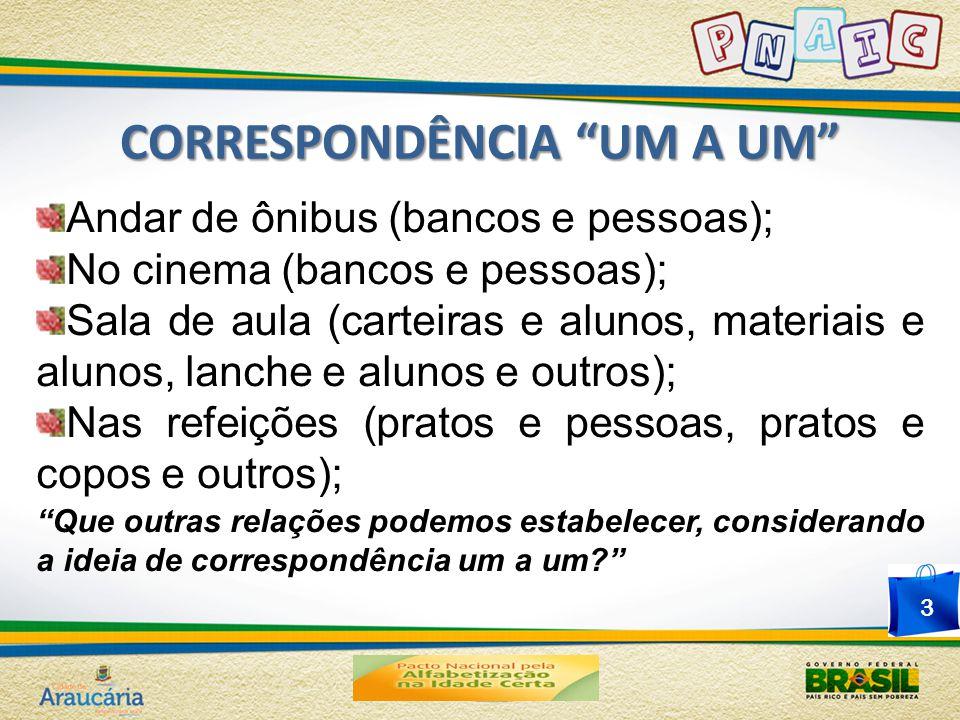 """CORRESPONDÊNCIA """"UM A UM"""" Andar de ônibus (bancos e pessoas); No cinema (bancos e pessoas); Sala de aula (carteiras e alunos, materiais e alunos, lanc"""