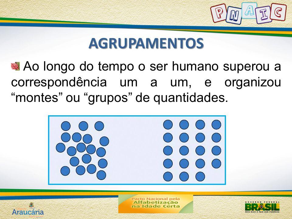 """AGRUPAMENTOS Ao longo do tempo o ser humano superou a correspondência um a um, e organizou """"montes"""" ou """"grupos"""" de quantidades."""