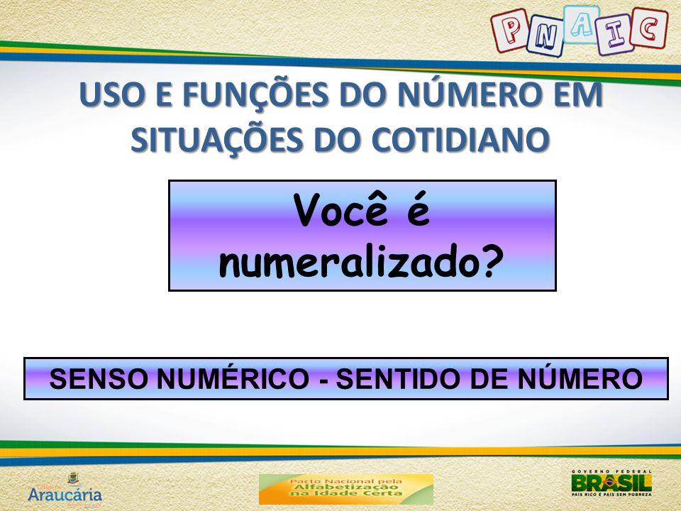 USO E FUNÇÕES DO NÚMERO EM SITUAÇÕES DO COTIDIANO Você é numeralizado? SENSO NUMÉRICO - SENTIDO DE NÚMERO