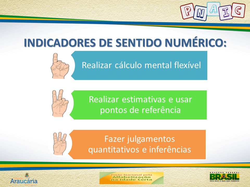 INDICADORES DE SENTIDO NUMÉRICO: Realizar cálculo mental flexível Realizar estimativas e usar pontos de referência Fazer julgamentos quantitativos e inferências