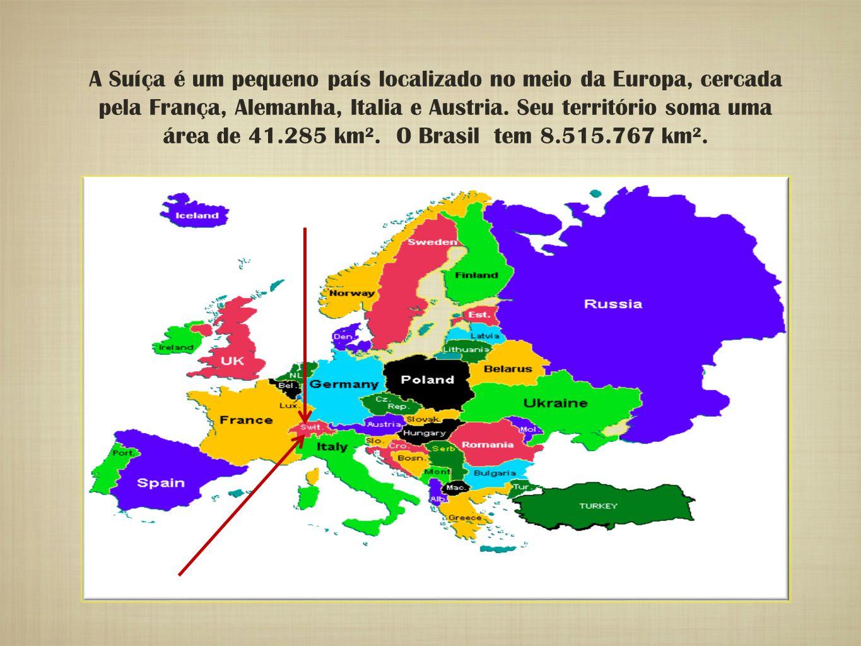 A Suíça é um pequeno país localizado no meio da Europa, cercada pela França, Alemanha, Italia e Austria.