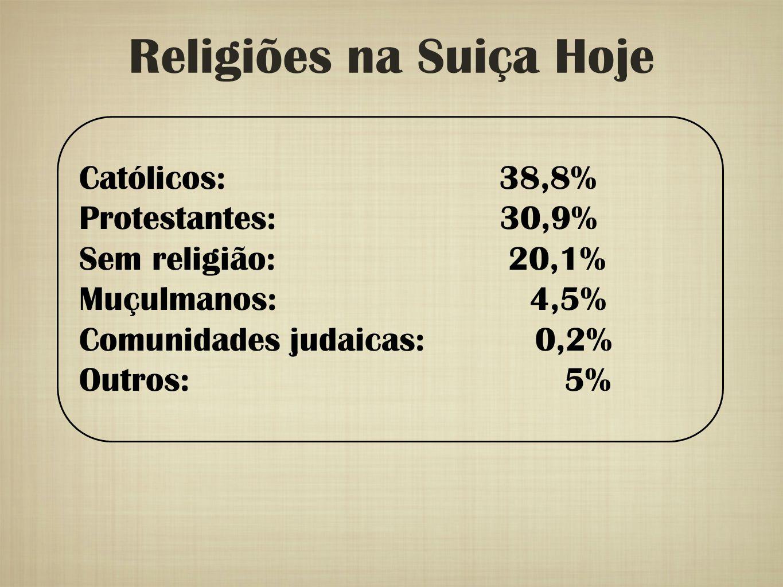 Religiões na Suiça Hoje Católicos: 38,8% Protestantes: 30,9% Sem religião: 20,1% Muçulmanos: 4,5% Comunidades judaicas: 0,2% Outros: 5%