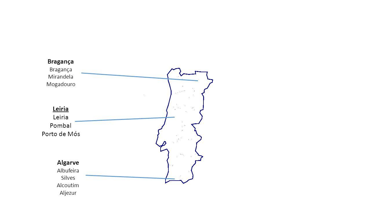 Algarve Albufeira Silves Alcoutim Aljezur Bragança Mirandela Mogadouro Leiria Pombal Porto de Mós