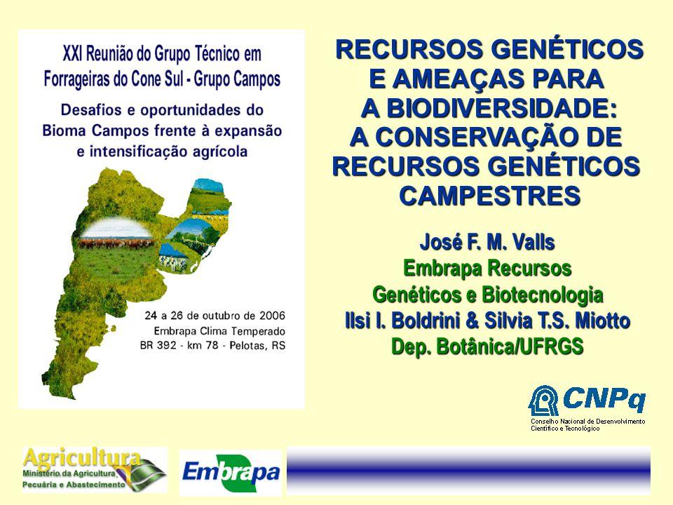 RECURSOS GENÉTICOS E AMEAÇAS PARA A BIODIVERSIDADE: A CONSERVAÇÃO DE RECURSOS GENÉTICOS CAMPESTRES José F. M. Valls Embrapa Recursos Genéticos e Biote