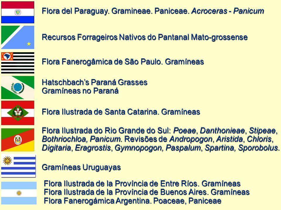 Flora Fanerogâmica de São Paulo. Gramíneas Hatschbach's Paraná Grasses Gramíneas no Paraná Flora Ilustrada de Santa Catarina. Gramíneas Flora Ilustrad