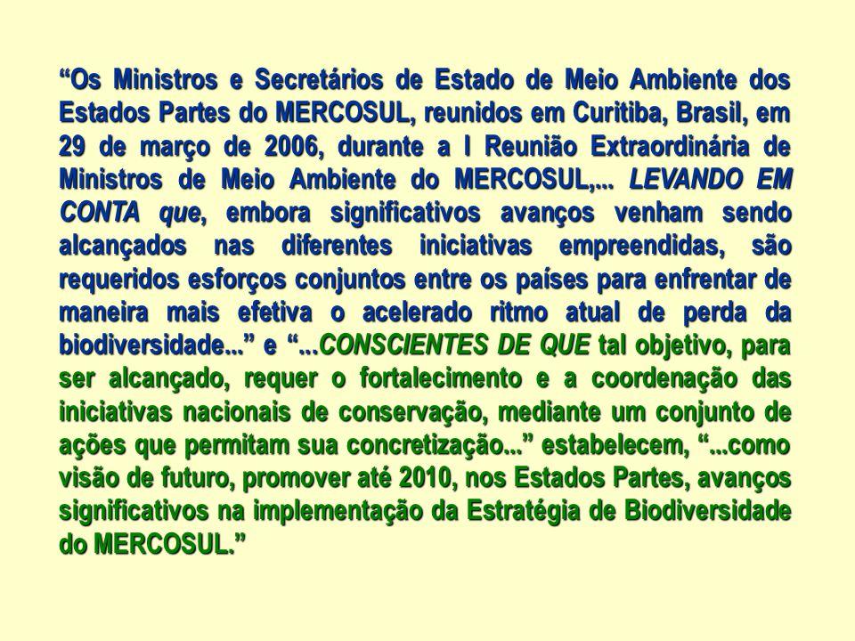 Os Ministros e Secretários de Estado de Meio Ambiente dos Estados Partes do MERCOSUL, reunidos em Curitiba, Brasil, em 29 de março de 2006, durante a I Reunião Extraordinária de Ministros de Meio Ambiente do MERCOSUL,...