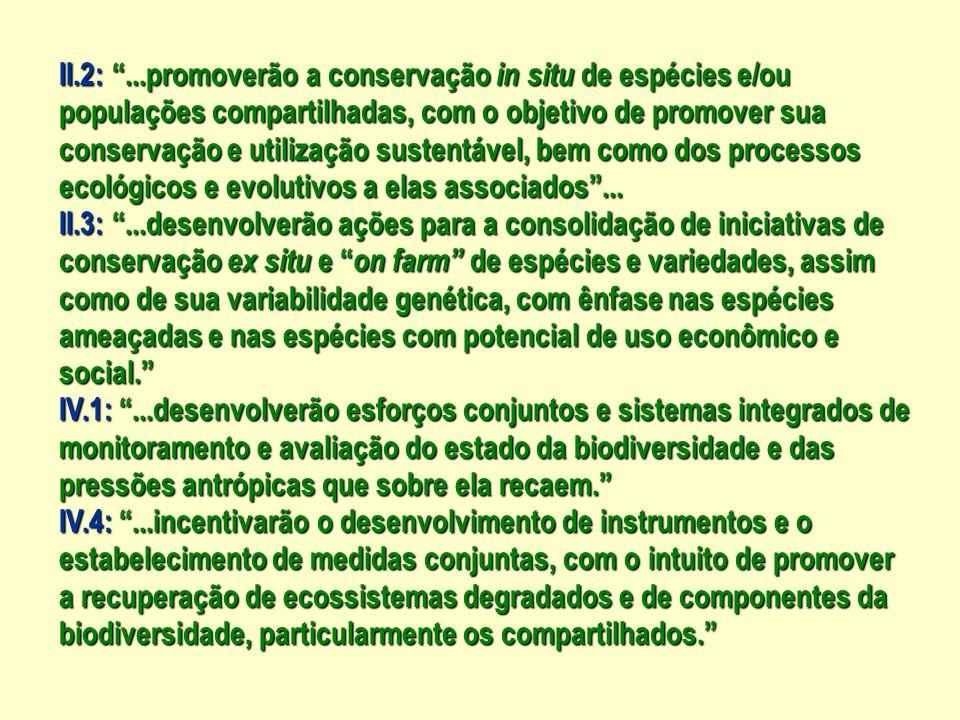 II.2: ...promoverão a conservação in situ de espécies e/ou populações compartilhadas, com o objetivo de promover sua conservação e utilização sustentável, bem como dos processos ecológicos e evolutivos a elas associados ...
