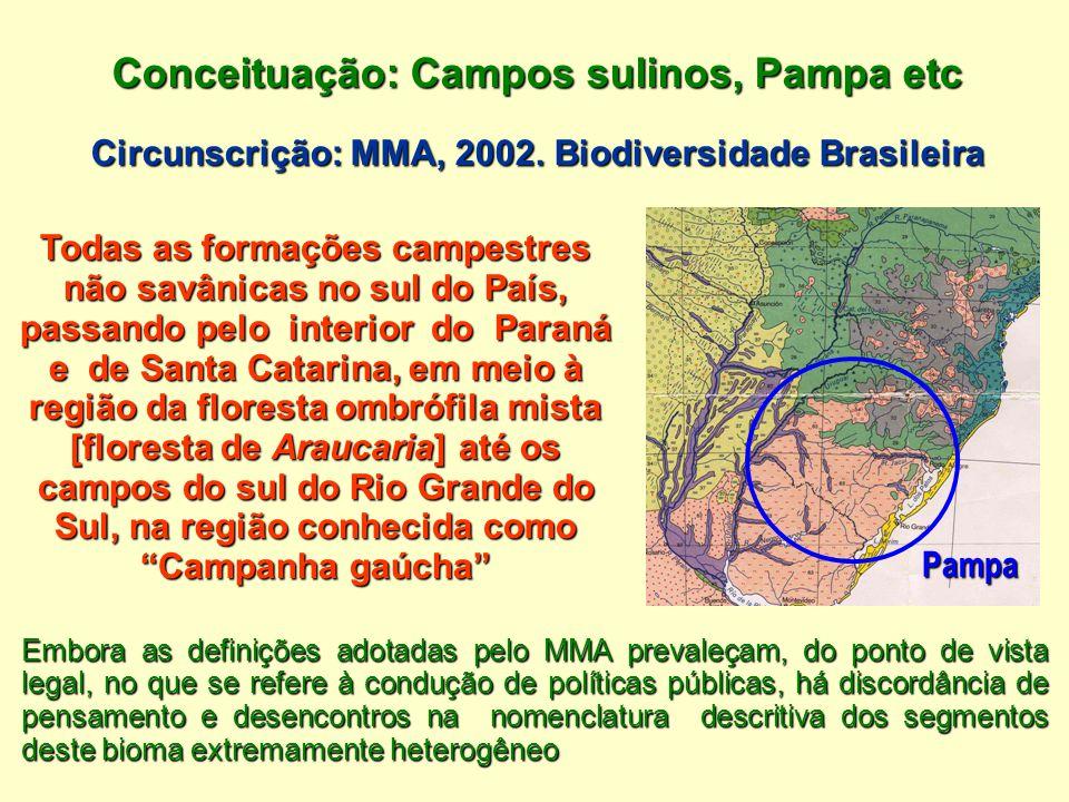 Conceituação: Campos sulinos, Pampa etc Circunscrição: MMA, 2002. Biodiversidade Brasileira Embora as definições adotadas pelo MMA prevaleçam, do pont