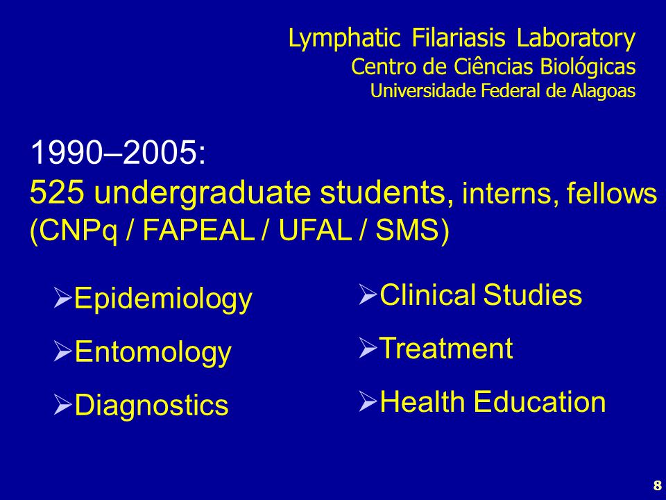 8  Epidemiology  Entomology  Diagnostics 1990–2005: 525 undergraduate students, interns, fellows (CNPq / FAPEAL / UFAL / SMS)  Clinical Studies 