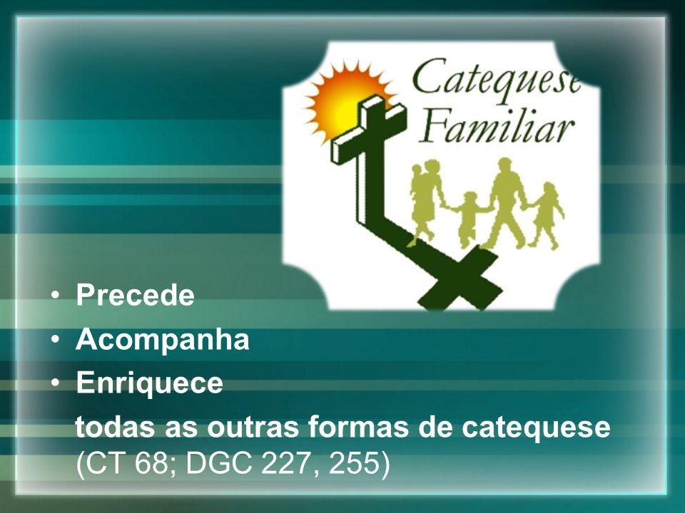 Precede Acompanha Enriquece todas as outras formas de catequese (CT 68; DGC 227, 255)