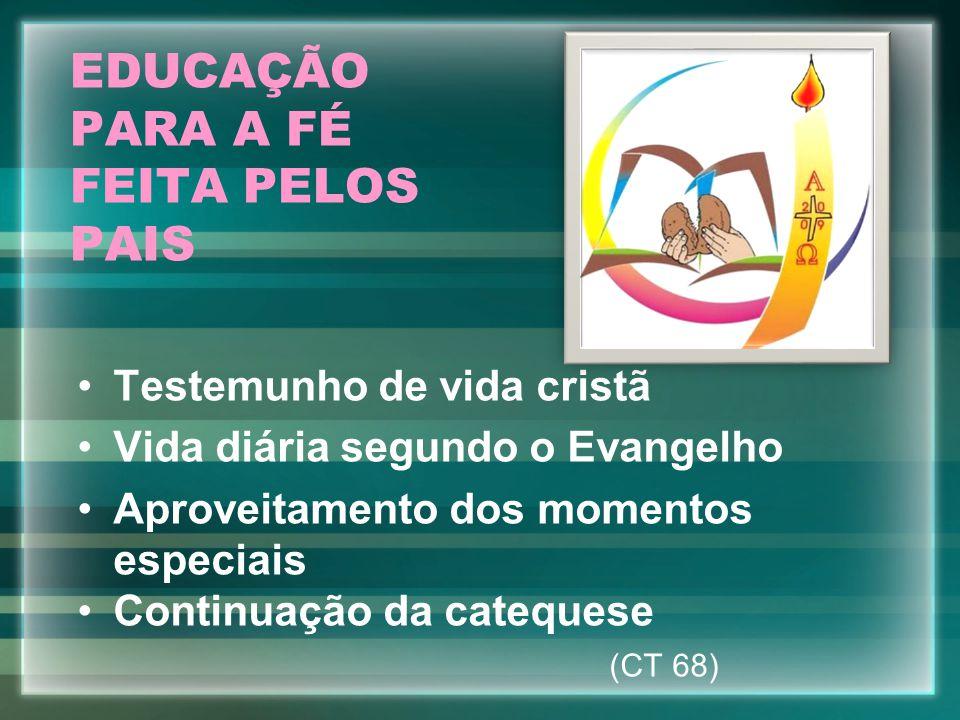 EDUCAÇÃO PARA A FÉ FEITA PELOS PAIS Testemunho de vida cristã Vida diária segundo o Evangelho Aproveitamento dos momentos especiais Continuação da cat