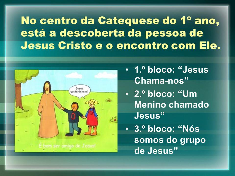 """No centro da Catequese do 1º ano, está a descoberta da pessoa de Jesus Cristo e o encontro com Ele. 1.º bloco: """"Jesus Chama-nos"""" 2.º bloco: """"Um Menino"""
