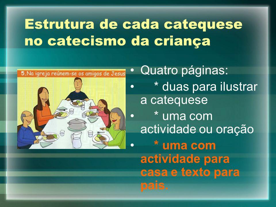 Estrutura de cada catequese no catecismo da criança Quatro páginas: * duas para ilustrar a catequese * uma com actividade ou oração * uma com activida