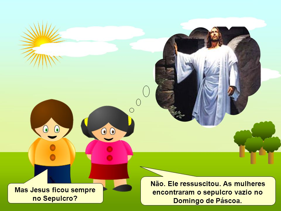 Mas Jesus ficou sempre no Sepulcro? Não. Ele ressuscitou. As mulheres encontraram o sepulcro vazio no Domingo de Páscoa.