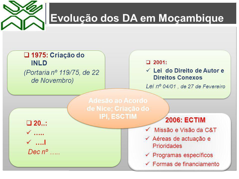 Evolução dos DA em Moçambique  Exposição: Nhembarte  2001: Lei do Direito de Autor e Direitos Conexos Lei nº 04/01, de 27 de Fevereiro  2001: Lei d