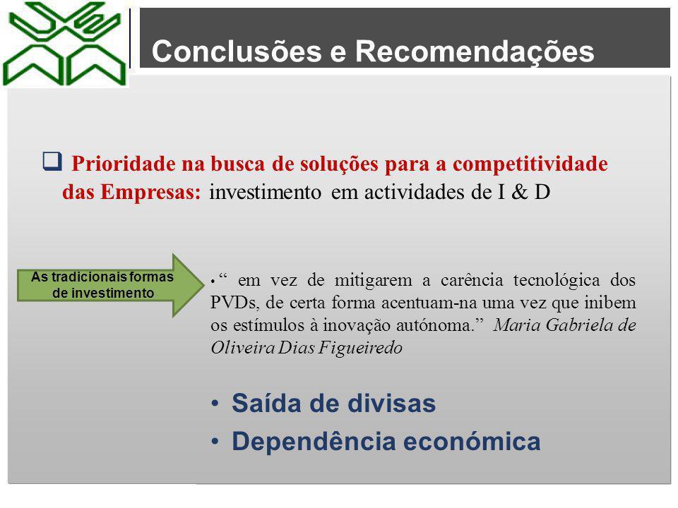 """Conclusões e Recomendações  Prioridade na busca de soluções para a competitividade das Empresas: investimento em actividades de I & D """" em vez de mit"""