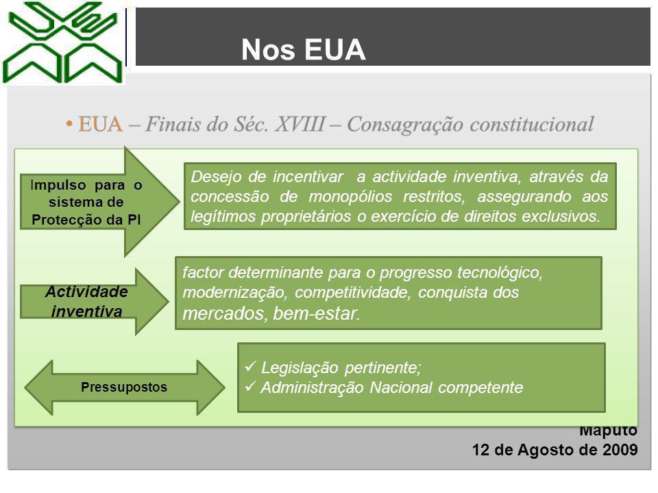 Propriedade Industrial em Moçambique 1º - Antes da Independência – CPI de 1940: Sistema centralizado em Portugal 2º - Depois da Independência e antes do PRE (1986)– Deixaram de existir os pressupostos Irrelevância do sistema face à CRPM 1975 3º Do PRE ao 1º CPI – Inovações: Financiamentos externos; privatizações (1989) CRM 1990: Iniciativa Privada - Investimento nacional; IDE Adesão de Moçambique à OMC (1994): TRIPS – Single Undertaking Avisos nos media sobre DPI Necessidade de um sistema de protecção  Criar bases para uma visão comum perante os desafios da crise mundial no sector do turismo  Avaliar e capitalizar as iniciativas locais sobre o combate à pobreza Os vários momentos históricos
