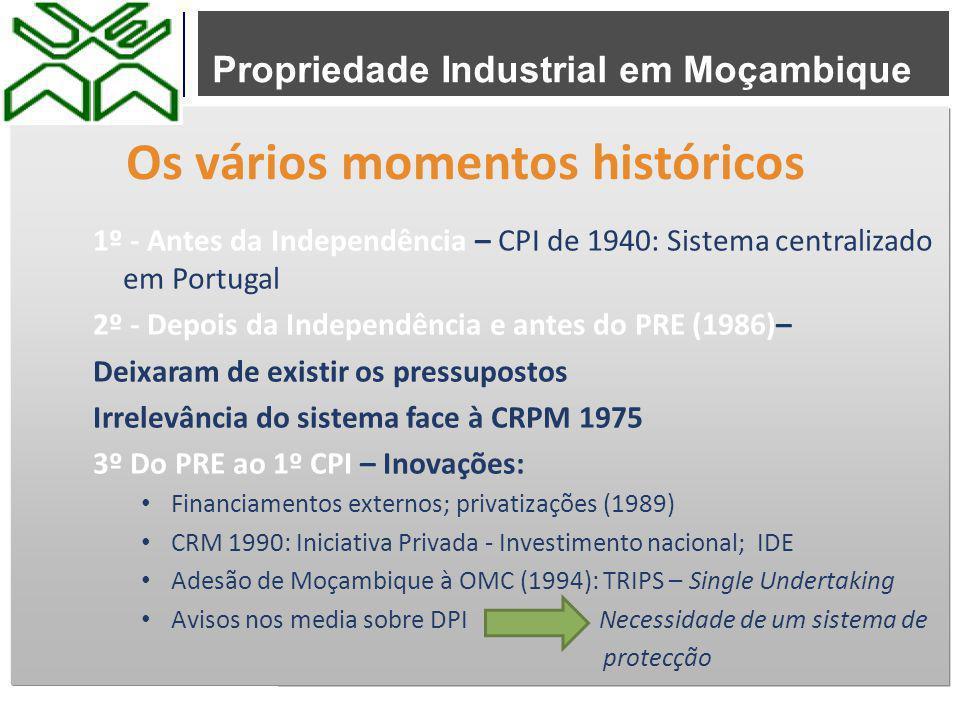 Propriedade Industrial em Moçambique 1º - Antes da Independência – CPI de 1940: Sistema centralizado em Portugal 2º - Depois da Independência e antes