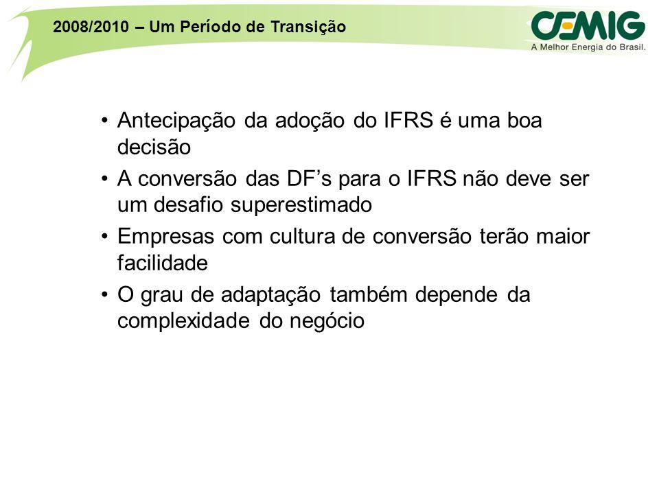 Antecipação da adoção do IFRS é uma boa decisão A conversão das DF's para o IFRS não deve ser um desafio superestimado Empresas com cultura de conversão terão maior facilidade O grau de adaptação também depende da complexidade do negócio 2008/2010 – Um Período de Transição