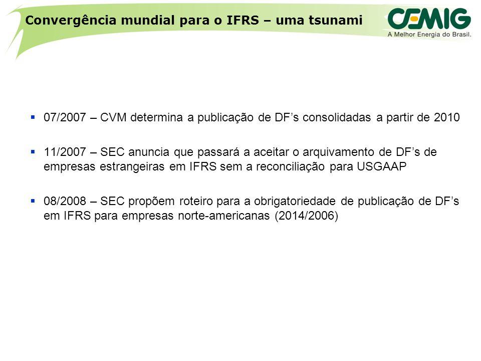 Convergência mundial para o IFRS – uma tsunami  07/2007 – CVM determina a publicação de DF's consolidadas a partir de 2010  11/2007 – SEC anuncia que passará a aceitar o arquivamento de DF's de empresas estrangeiras em IFRS sem a reconciliação para USGAAP  08/2008 – SEC propõem roteiro para a obrigatoriedade de publicação de DF's em IFRS para empresas norte-americanas (2014/2006)
