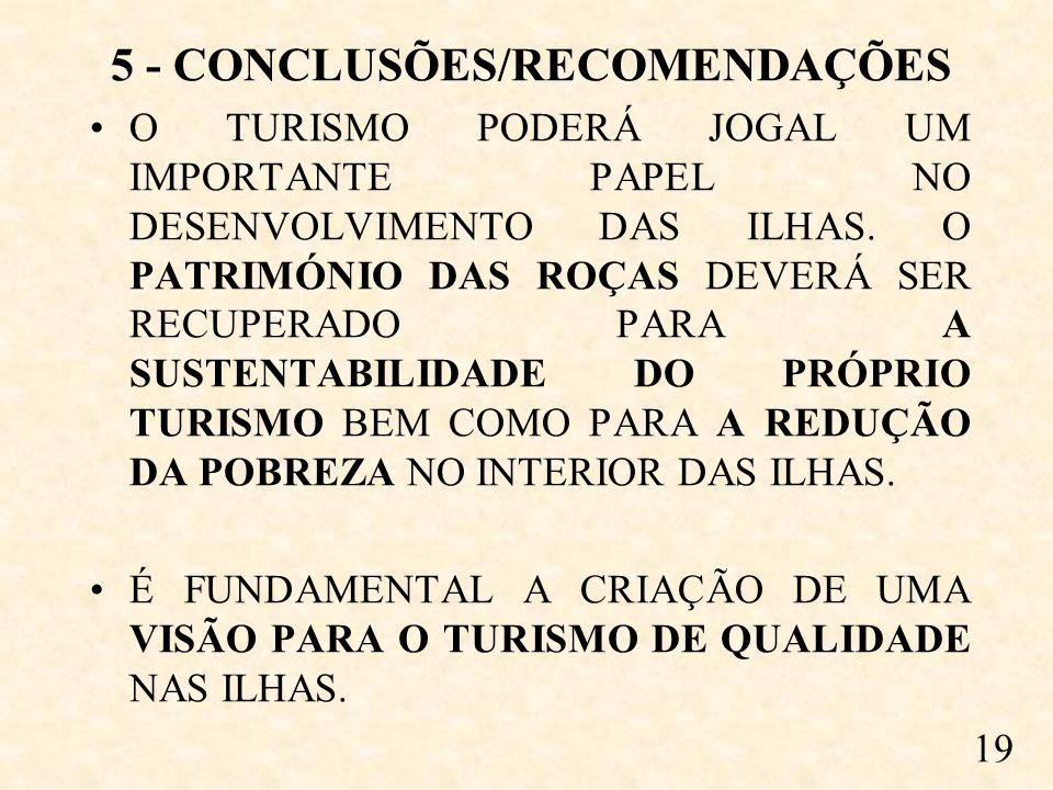 5 - CONCLUSÕES/RECOMENDAÇÕES O TURISMO PODERÁ JOGAL UM IMPORTANTE PAPEL NO DESENVOLVIMENTO DAS ILHAS.