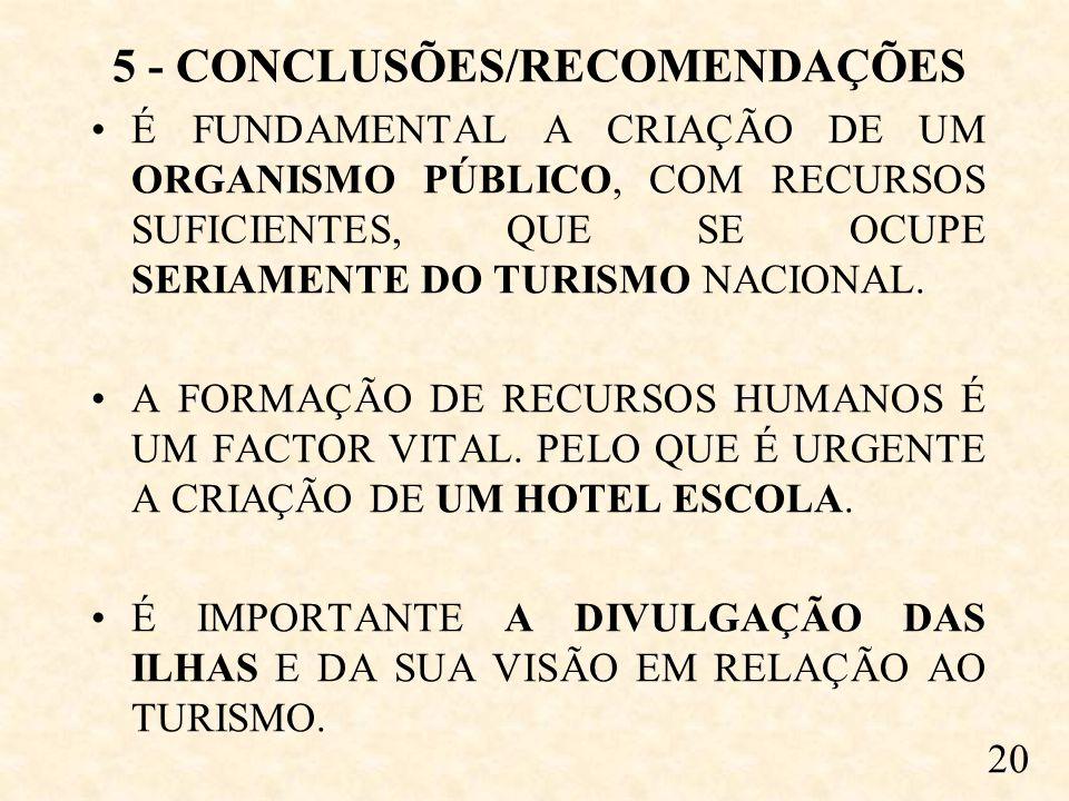 5 - CONCLUSÕES/RECOMENDAÇÕES É FUNDAMENTAL A CRIAÇÃO DE UM ORGANISMO PÚBLICO, COM RECURSOS SUFICIENTES, QUE SE OCUPE SERIAMENTE DO TURISMO NACIONAL.