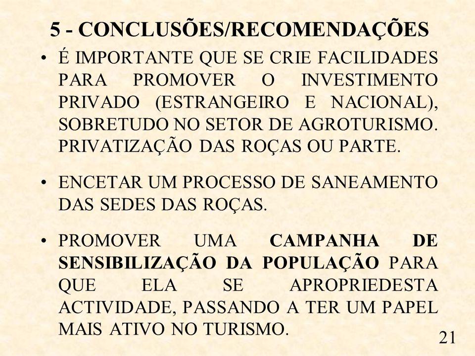 5 - CONCLUSÕES/RECOMENDAÇÕES É IMPORTANTE QUE SE CRIE FACILIDADES PARA PROMOVER O INVESTIMENTO PRIVADO (ESTRANGEIRO E NACIONAL), SOBRETUDO NO SETOR DE AGROTURISMO.