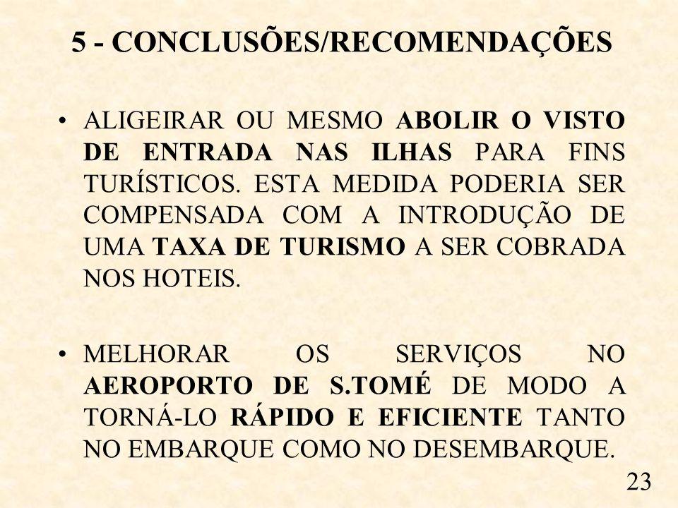 5 - CONCLUSÕES/RECOMENDAÇÕES ALIGEIRAR OU MESMO ABOLIR O VISTO DE ENTRADA NAS ILHAS PARA FINS TURÍSTICOS.