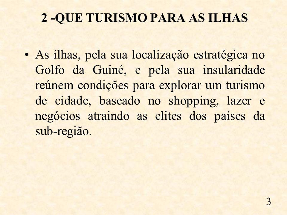 2 -QUE TURISMO PARA AS ILHAS As ilhas, pela sua localização estratégica no Golfo da Guiné, e pela sua insularidade reúnem condições para explorar um turismo de cidade, baseado no shopping, lazer e negócios atraindo as elites dos países da sub-região.