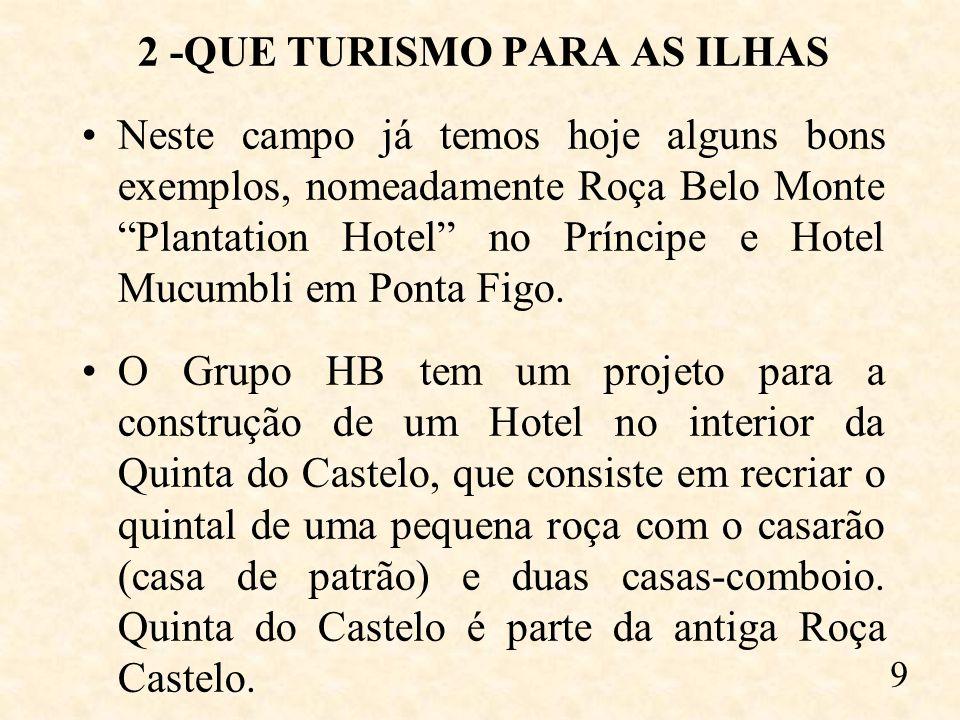 2 -QUE TURISMO PARA AS ILHAS Neste campo já temos hoje alguns bons exemplos, nomeadamente Roça Belo Monte Plantation Hotel no Príncipe e Hotel Mucumbli em Ponta Figo.