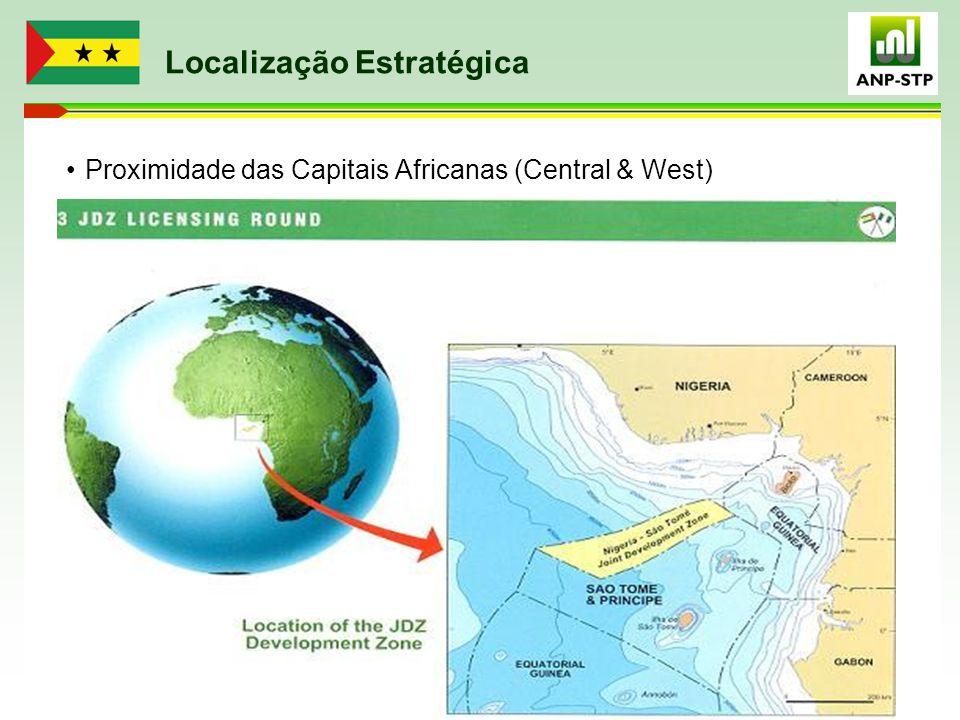Localização Estratégica Proximidade das Capitais Africanas (Central & West)