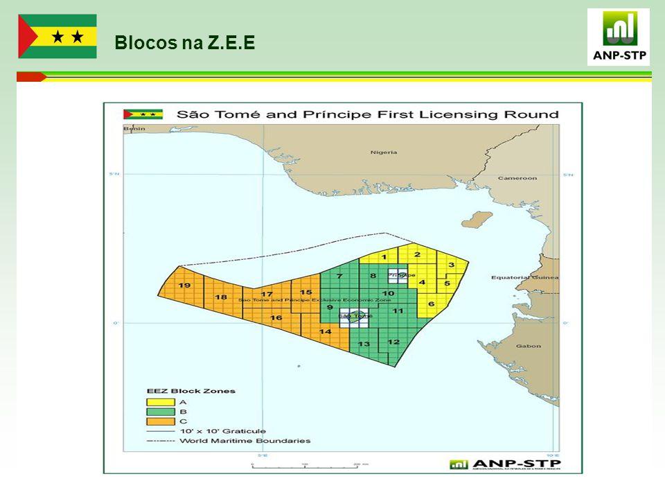 Companhias Petrolíferas na Z.E.E ORANTO PETROLEUM (Block 3) Equator Exploration (Blocks 5 &12) ERHC (Blocks 4 & 11) Direitos Adquiridos SINO ANGOL ( Block 2)