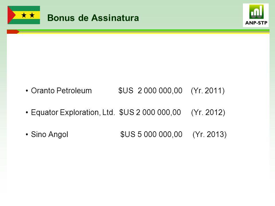 Bonus de Assinatura Oranto Petroleum $US 2 000 000,00 (Yr. 2011) Equator Exploration, Ltd. $US 2 000 000,00 (Yr. 2012) Sino Angol $US 5 000 000,00 (Yr