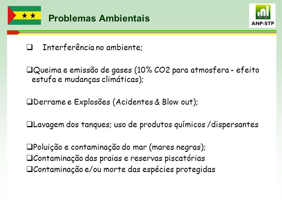 Problemas Ambientais  Interferência no ambiente;  Queima e emissão de gases (10% CO2 para atmosfera - efeito estufa e mudanças climáticas);  Derram