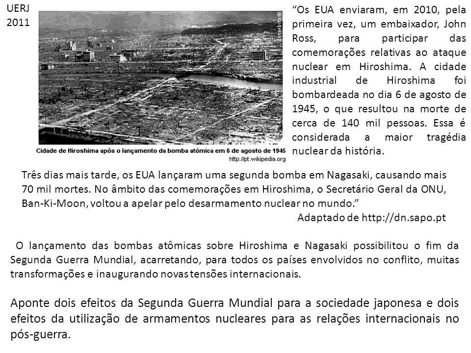 O lançamento das bombas atômicas sobre Hiroshima e Nagasaki possibilitou o fim da Segunda Guerra Mundial, acarretando, para todos os países envolvidos no conflito, muitas transformações e inaugurando novas tensões internacionais.