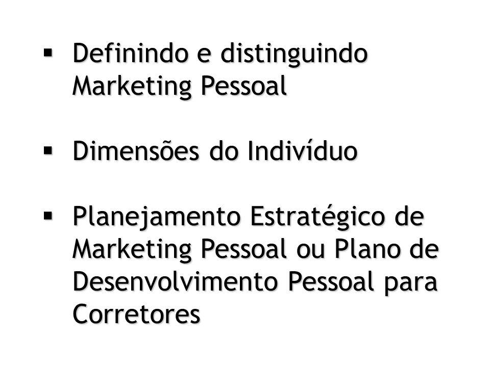  Definindo e distinguindo Marketing Pessoal  Dimensões do Indivíduo  Planejamento Estratégico de Marketing Pessoal ou Plano de Desenvolvimento Pessoal para Corretores