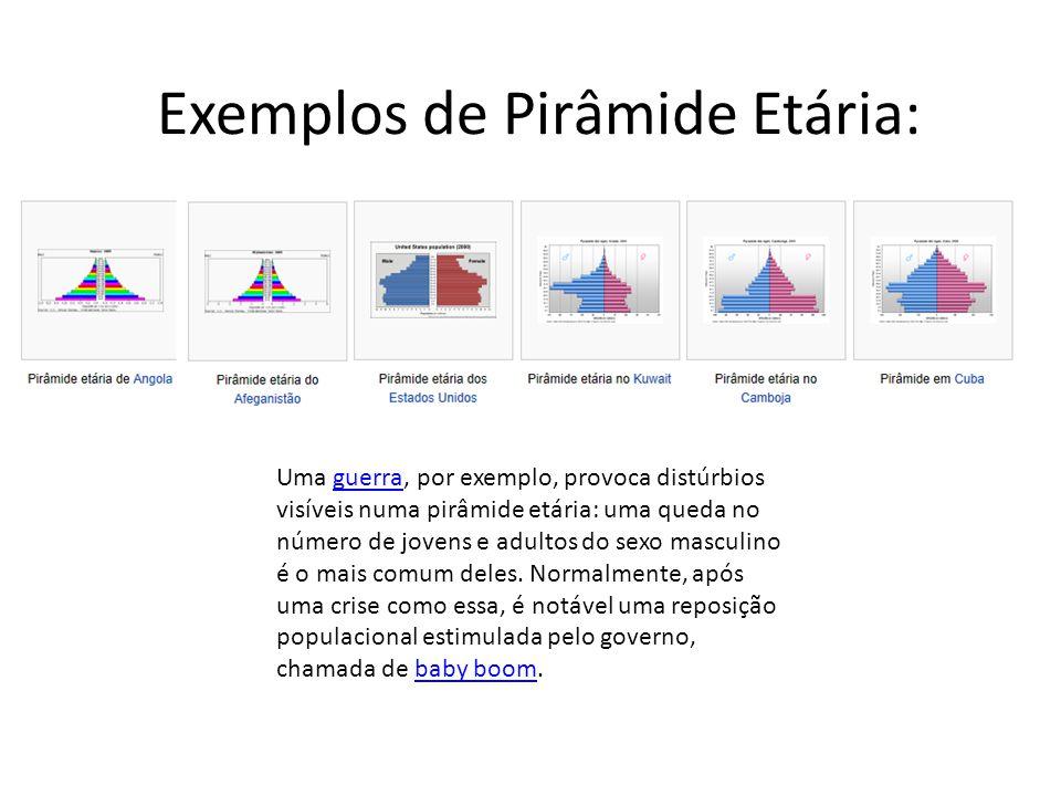 Exemplos de Pirâmide Etária: Uma guerra, por exemplo, provoca distúrbios visíveis numa pirâmide etária: uma queda no número de jovens e adultos do sex