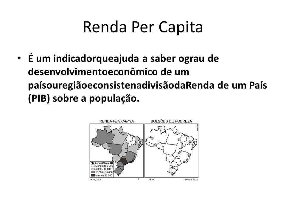 Renda Per Capita É um indicadorqueajuda a saber ograu de desenvolvimentoeconômico de um paísouregiãoeconsistenadivisãodaRenda de um País (PIB) sobre a