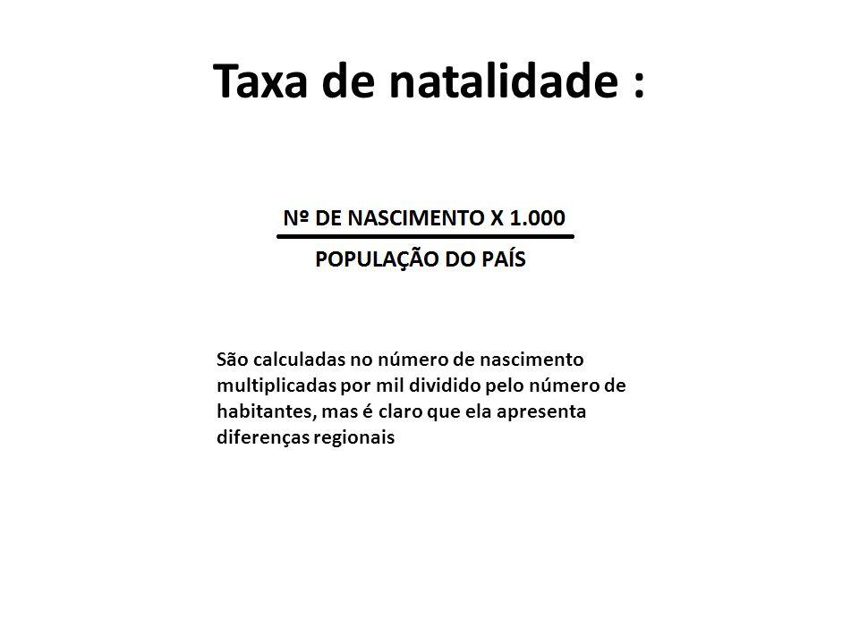 Taxa de natalidade : São calculadas no número de nascimento multiplicadas por mil dividido pelo número de habitantes, mas é claro que ela apresenta di