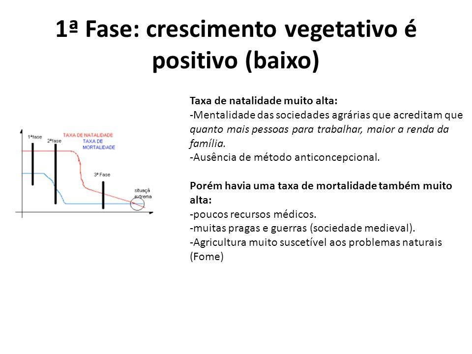 1ª Fase: crescimento vegetativo é positivo (baixo) Taxa de natalidade muito alta: -Mentalidade das sociedades agrárias que acreditam que quanto mais p